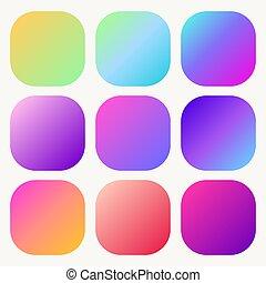 Gradient holographic button set Trendy soft Multicolor fluid covers. Vector