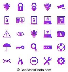 gradient, icônes, sécurité, fond blanc