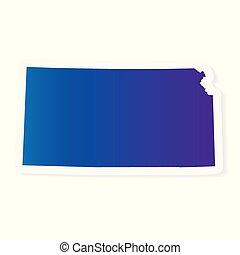 gradient Kansas map- vector illustration