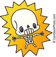 gradient, kawaii, électrocuté, dessin animé, squelette