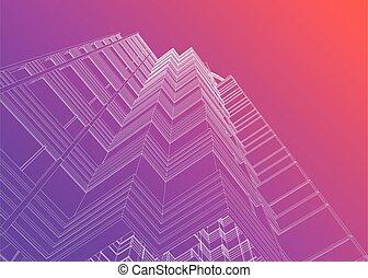 gradient, moderne, vue, bâtiment, coucher soleil, coloré, perspective