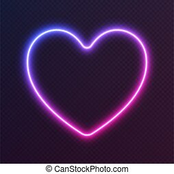 Gradient neon heart, blue-pink glowing border isolated on a dark background. Colorful night banner