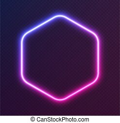 Gradient neon hexagon, blue-pink glowing border isolated on a dark background. Colorful night banner