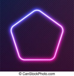 Gradient neon pentagon, blue-pink glowing border isolated on a dark background. Colorful night banner