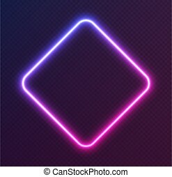 Gradient neon rhombus, blue-pink glowing border isolated on a dark background. Colorful night banner