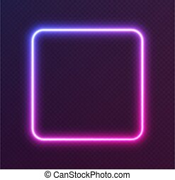 Gradient neon square, blue-pink glowing border isolated on a dark background. Colorful night banner