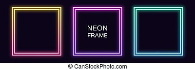 Gradient neon square Frame. Vector set of quadrate neon Border with double outline. Geometric shape with copy space, futuristic graphic element for social media stories. Rainbow, iridescent color