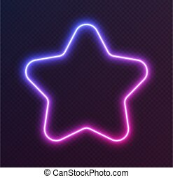 Gradient neon star, blue-pink glowing border isolated on a dark background. Colorful night banner
