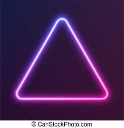 Gradient neon triangle, blue-pink glowing border isolated on a dark background. Colorful night banner