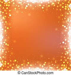 Gradient orange square Halloween background with bokeh border