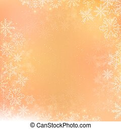 Gradient orange winter square banner background with snowflake