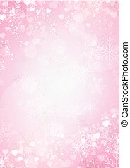 Gradient pink background with snow, snowflake and hearts border
