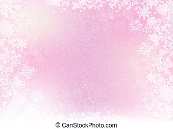 Gradient pink elegant winter background with snowflake border