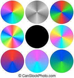 Gradient rainbow circle color palette set