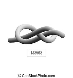 Gradient shape logo. - Abstract 3d knotted stripe. Vector...