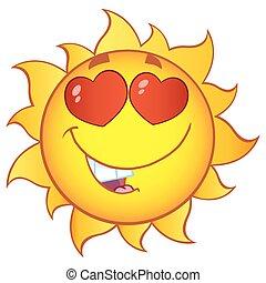 gradient, soleil, amour, caractère