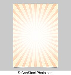 Gradient sunshine ray design flyer template - vector document background graphic with radial rays