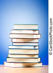 gradient, texte, contre, livres, fond, pile