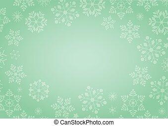 gradient, vert, hiver, fond, à, flocon de neige, frontière