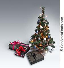 gradiente, árvore, natal, fundo