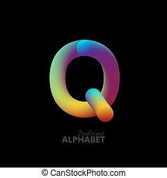 gradiente, 3d, iridiscente, carta, q.