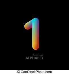 gradiente, 3d, número, iridescente, 1.