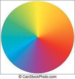 gradiente, arco irirs, aislado, circular