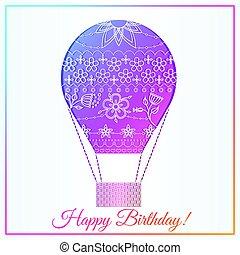 gradiente, balloon, ar, cartão aniversário, feliz