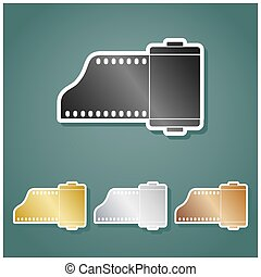 gradiente, bronze, branca, ouro, foto, metálico, câmera,...