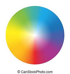 gradiente, color, rueda