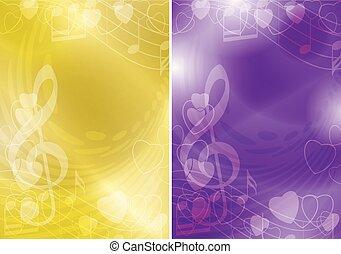 gradiente, fundos, voadores, -, amarela, vetorial, música, contornos, violeta, corações