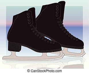 gradiente, homens, fundo, patins figura
