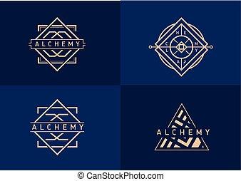 gradiente, logotipo, alquimia, conjunto, lineal