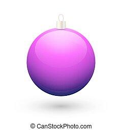 gradiente, púrpura, pelota, navidad, vector.