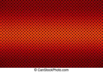 gradiente, rojo, color, perforado, metal, hoja