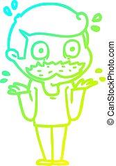 gradiente, sorprendido, caricatura, frío, dibujo, línea,...