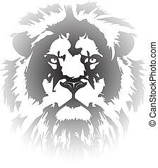 gradiente, tatuaje, león, cabeza