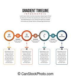 gradiente, timeline, infographic