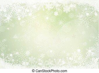 gradiente, verde, inverno, snowflake, borda, com, a, neve