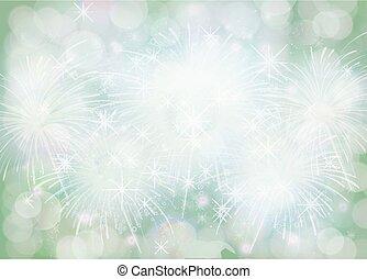 gradiente, verde, inverno, snowflake, borda, natal, fundo