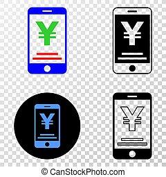 gradiented, grunged, pointillé, yen, mobile, banque, composition, timbre