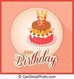 gradin, gâteau, carte, anniversaire, serviette, vendange, rose
