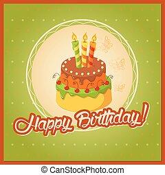 gradin, gâteau, carte, anniversaire, serviette, vert, vendange