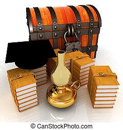 gradindelning, hatt, på, bröstkorg, och, böcker, omkring, med, fotogen, lamp., 3, render