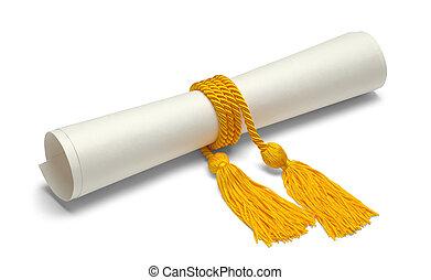 grado, con, honor, cuerdas