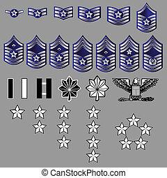 grado, nosotros, insignia, fuerza, aire