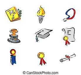 graduação, ícones