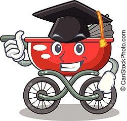 graduação, caricatura, carrinho criança, em, a, praia
