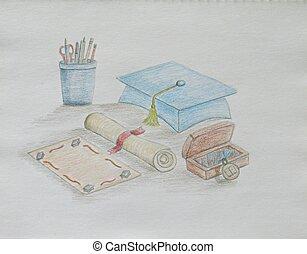 graduação, cartão