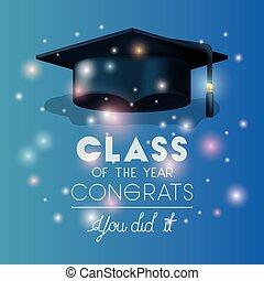 graduação, cartão, com, chapéu